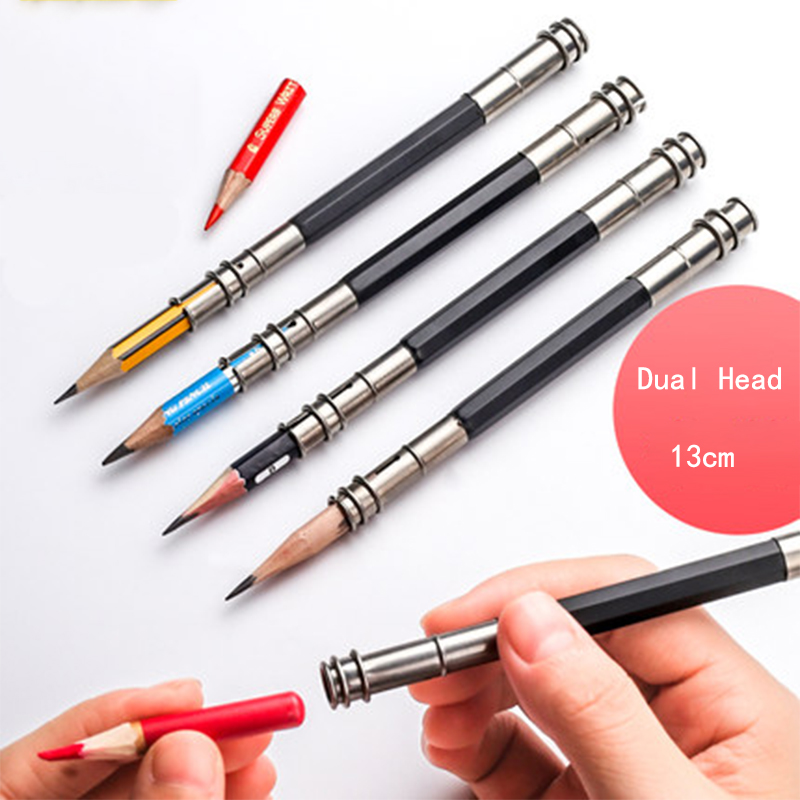 Metal Adjustable Dual Head Pencil Extender Holder Sketch School Office Painting Art Write Tool For Writing Gift