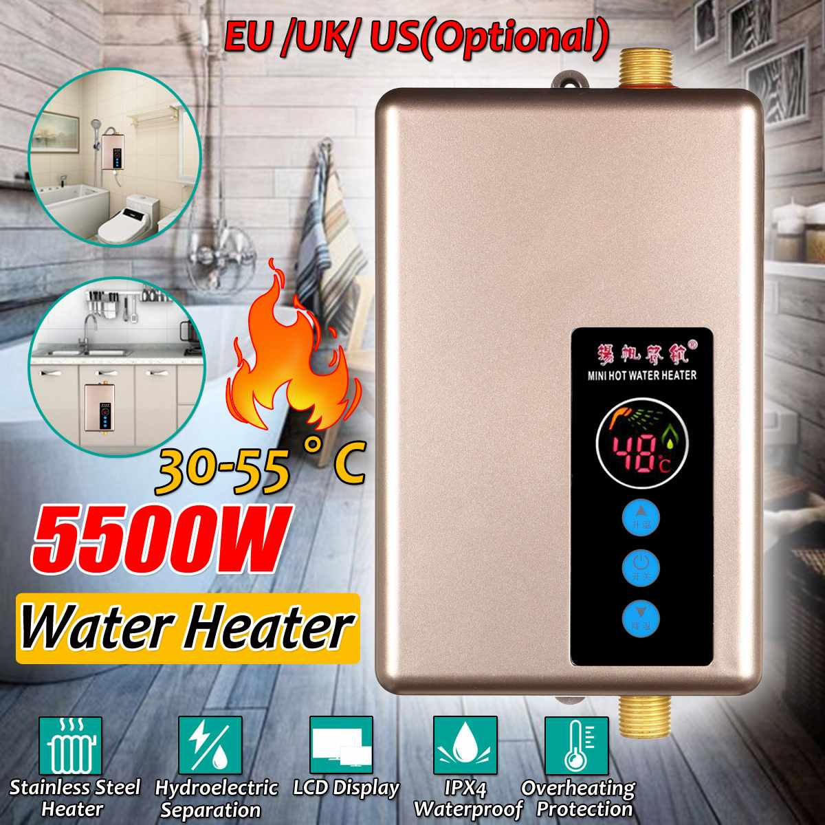 Instant Electric Water Heater Tankless Water Heater Shower Instant  Hot Water For Bathroom 5500W W/ Digital Screen EU/US/UK Plug