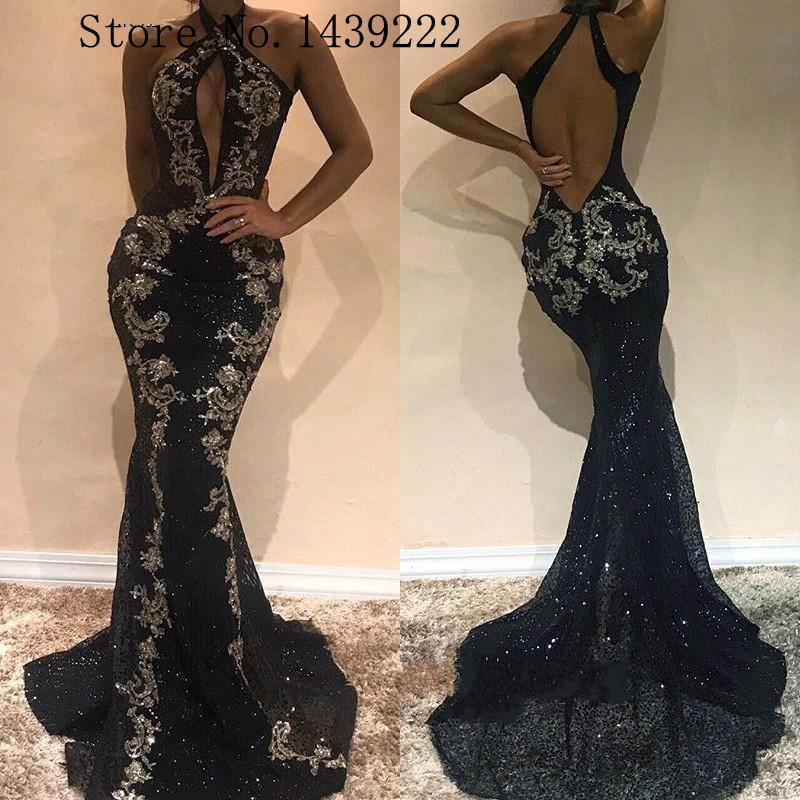 Bling Black Halter Sexy Sequin Evening Dress Mermaid Prom Celebrity Formal Dresses Court Train Robe De Soiree Evening Party