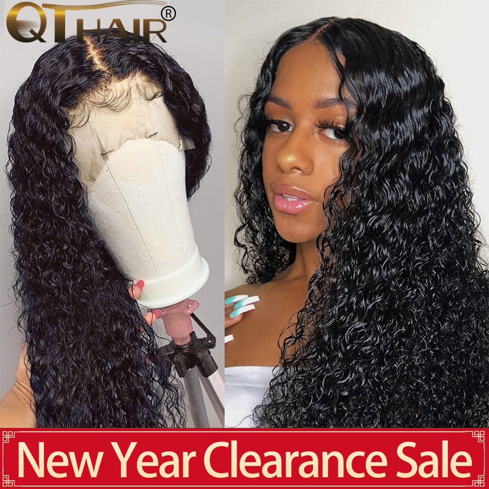 QT 13x4 Lace Front Human Hair Wigs For Black Women Remy Brazilian Kinky Curly 360 Lace Frontal Wigs  Pre Plucked With Baby Hair
