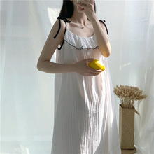 Summer Suspender Nightdress Female Sexy Cotton White Princess Style Housewear women Night Gowns Ladies Sleeping Dress suspender nightdress women s summer thin pure cotton lovely little girl s nightdress summer cartoon print dress sub panel plaid