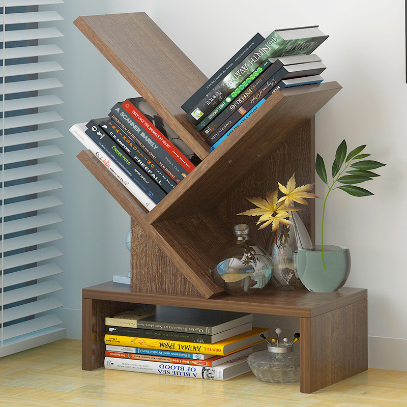 Simple Bookcase Floor Multilayer Creative Storage Shelf Tree Small Apartment Home Province Space Minimalist Modern Boy Shelf