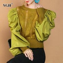 Женский трикотажный пуловер vgh повседневный Короткий Свитер