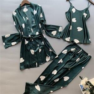 Image 1 - 3 Pcs ผู้หญิงผ้าไหมน้ำแข็งชุดนอน Polka ผลไม้หวานเสื้อกั๊กกางเกงชุดชุดนอน