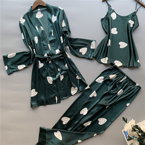 Image 1 - 3 peças de seda gelo pijamas femininos polka fruta doce colete calças cardigan conjunto pijamas