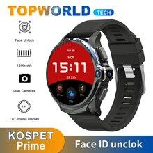 KOSPET 프라임 Smartwatch 얼굴 ID unclok 듀얼 카메라 1260mAh 배터리 4G 안드로이드 스마트 워치 GPS 와이파이 sim 카드 안드로이드 7.1