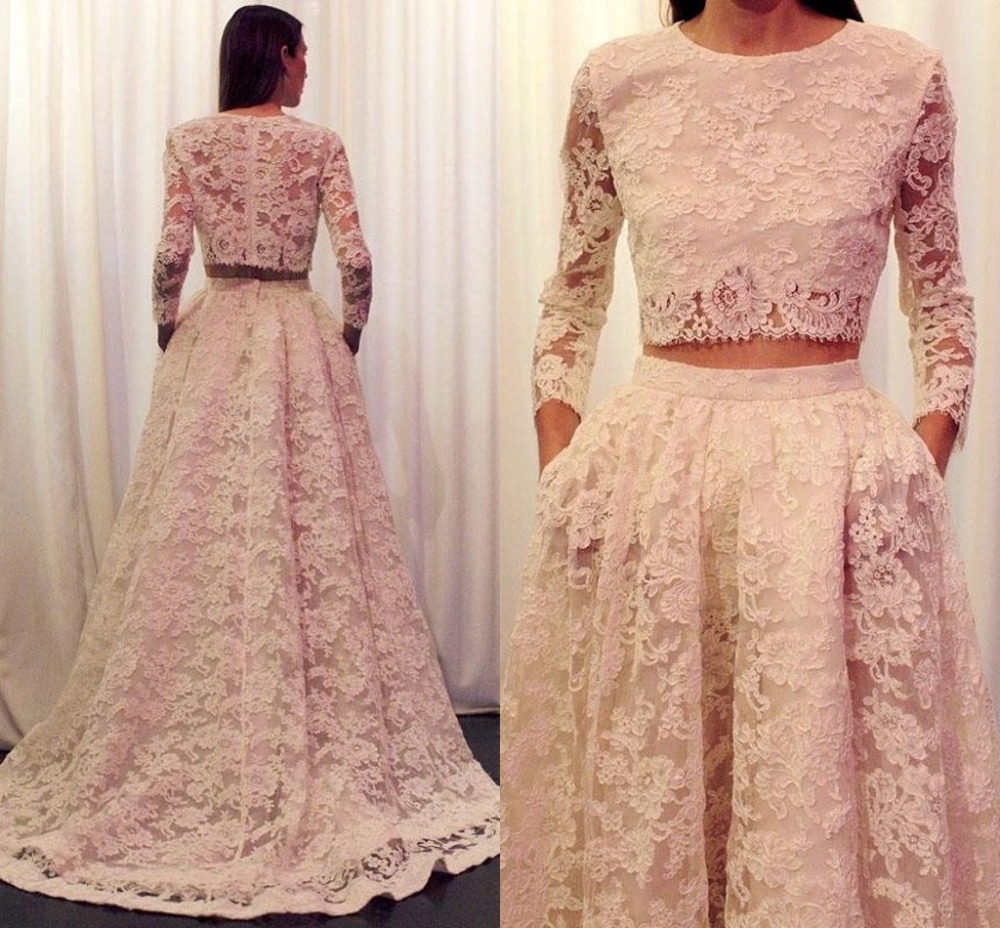 Two Piece Long Sleeve Lace Scoop Floor Length Ivory Bridal Fast Delivery By Aramex Vestidos De Novia Mother Of The Bride Dresses