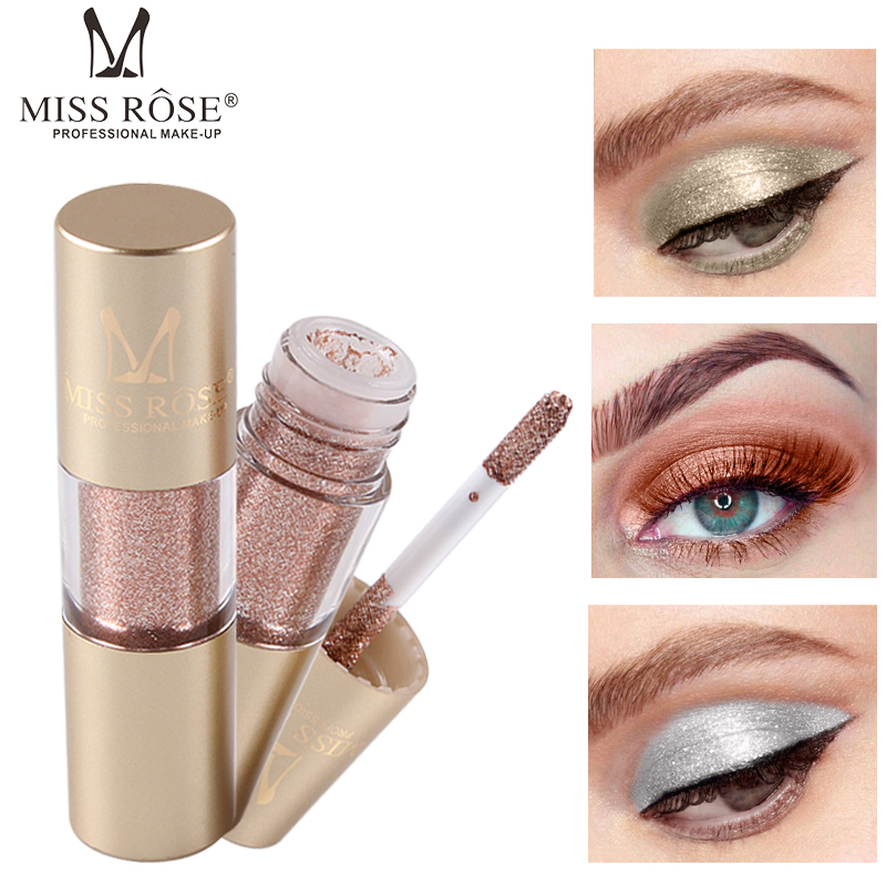 MISS ROSE 2019 Fashion Hot Metal Eyeshadow Shimmer Waterproof Shine Single Eye Shadow Liquid Nude Makeup Shadow тени для в in Eye Shadow from Beauty Health