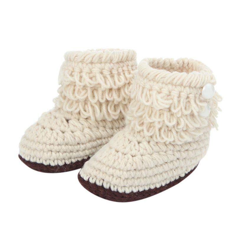 WEIXINBUY Handmade Boots Newborn Baby Crib Shoes Infant Boys Girls Crochet Knit Winter Warm Booties