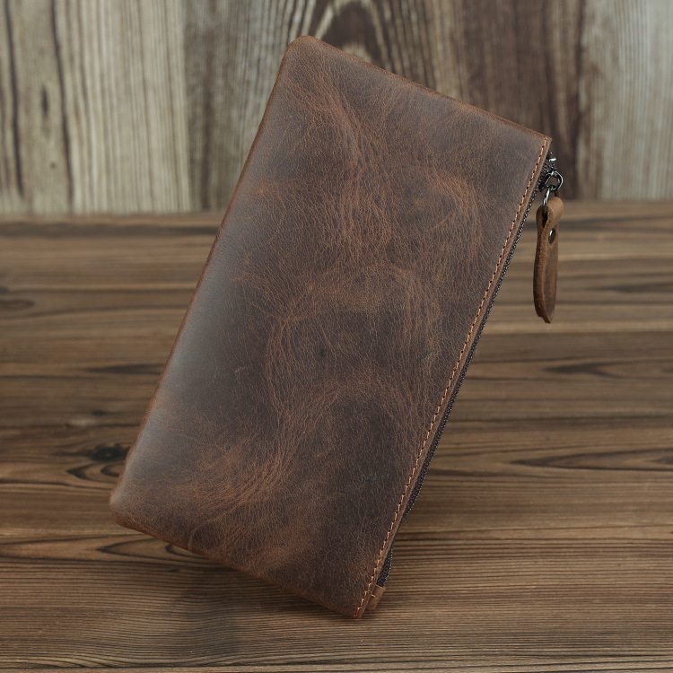 Long Retro Ultra-thin Lady Leather Purse Japanese And Korean Handbag