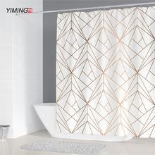 200x180cm bathroom waterproof shower curtain simple geometric pattern printing polyester home decoration curtain with hook