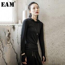 Женская футболка с капюшоном EAM, Весенняя/Осенняя футболка с длинным рукавом, 2020
