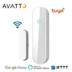 AVATTO Tuya inteligentne WiFi okno/czujnik drzwi  drzwi otwarte/zamknięte detektory kompatybilne z Alexa  Google Home dla Drop Shipping