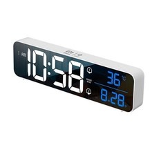 Rechargeable Digital Alarm Clock Sound-Activated Dual Alarm LED Clock Snooze Temperature Music Table Clock for Living Room Decor