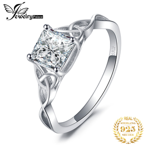 Image 1 - JPalace Celtic Knot Princess CZ Engagement Ring 925 Sterling Silver Rings for Women Anniversary Wedding Rings Silver 925 Jewelry
