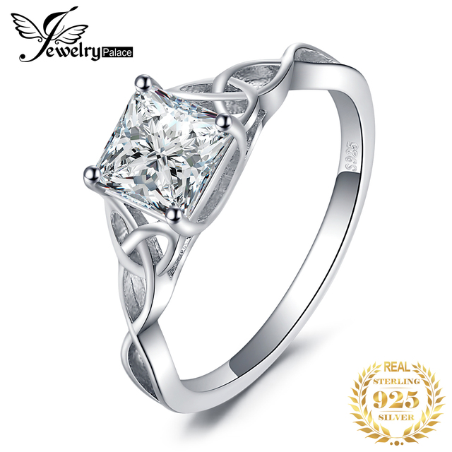 JPalace Celtic Knot Princess CZ Engagement Ring 925 Sterling Silver Rings for Women Anniversary Wedding Rings Silver 925 Jewelry