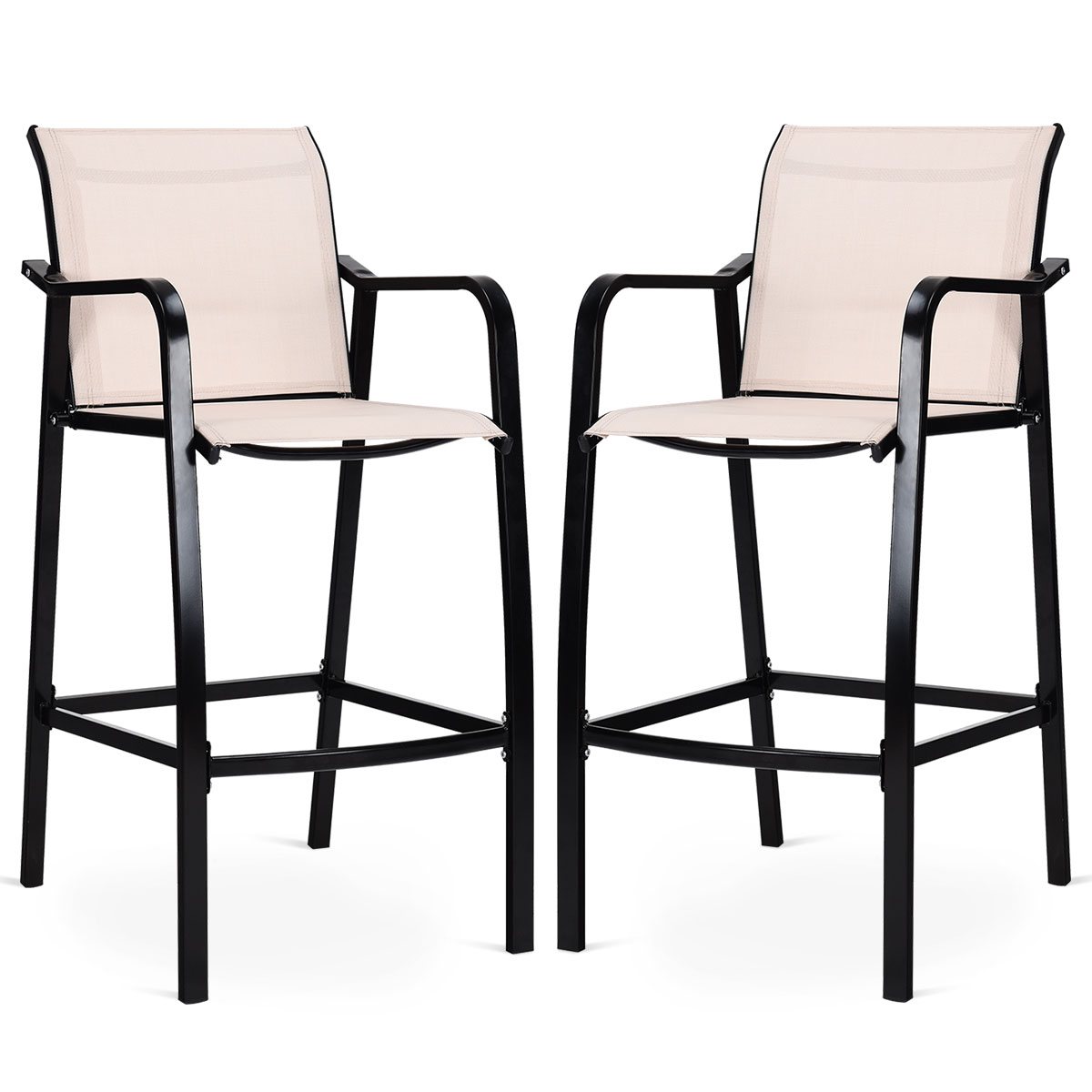 Costway 2 PCS Counter Height Stool Patio Chair Steel Frame Leisure Dining Bar Chair