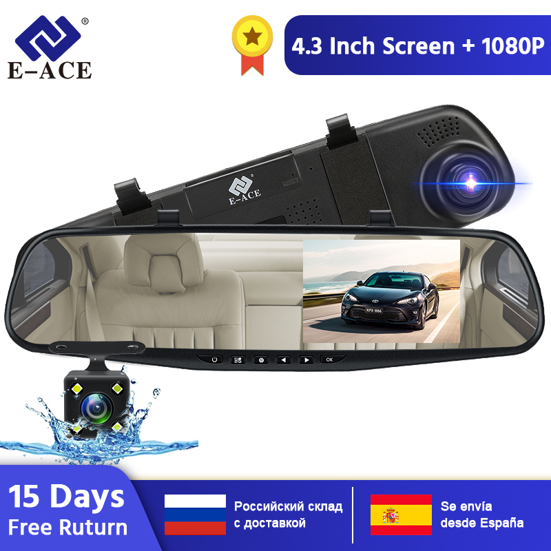 E-ACE 4.3 Inch Car Dvr Camera Full HD 1080P Automatic Camera Rear View Mirror With DVR And Camera Recorder Dashcam Car DVRs