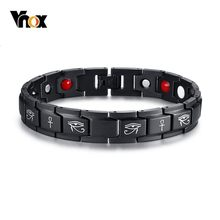 Vnox Vintage Eye of Horus Ankh Cross Energy Bracelets for Men Healthy Black Stainless Steel Magnetic Therapy pulseira masculina(China)
