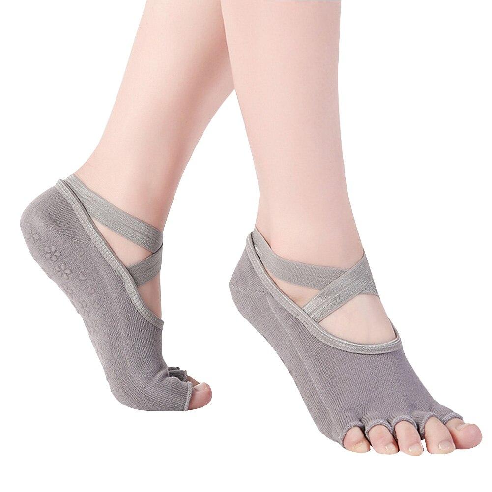 Fitness Ballet Toeless Professional Non Slip Pilates Casual Women Yoga Socks Wear Resistant Floor Cross Strap Girls Ballet Dance