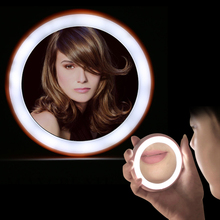 Mini Portable Makeup Mirror Vanity LED Light Night LampLighted Cosmetic Hand Powered by Button Battery 4 Colors