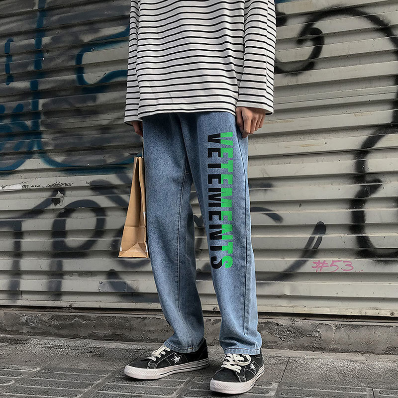 2020 Spring And Autumn New Youth Popular Male Letter Printing Denim Trousers Fashion Casual Loose Wild Straight Pants Blue