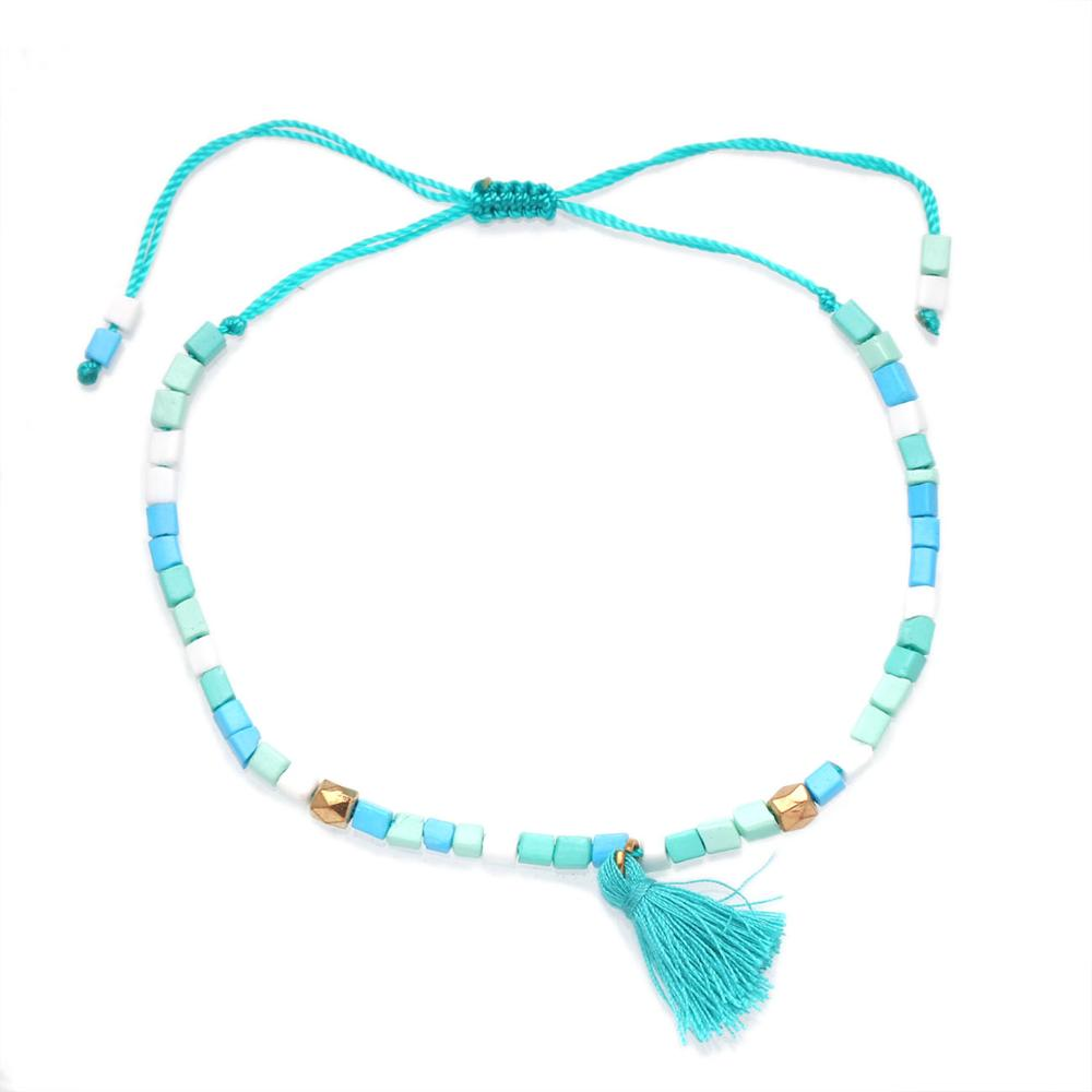 Multicolor Beads Tassels Adjustable Anklet Women Girl 2020 New Fashion Hot Sale String Handmade Summer Beach Jewelry Present