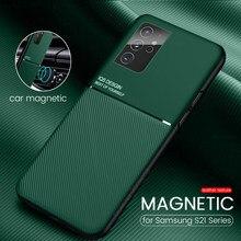 S 21 fall leder textur auto magnetischer halter telefon abdeckungen für samsung galaxy s21 plus ultra slim matt silicon stoßfest coque