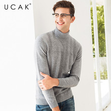 UCAK Brand Sweater Men 2019 New Autumn Winter Thick Warm Turtleneck Pull Homme Cotton Knitwear Pullover Men Jersey Hombre U1018