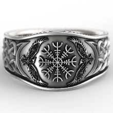 Vintage mitología historia vikinga celta águila brújula 925 Plata Negro hombres anillos