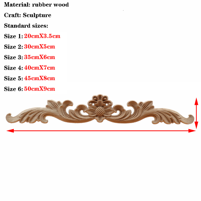 RUNBAZEF  European Wood Carving Home Wholesale Multi-specification Door Cabinets Wood Applique Decoration Long Decals Natural 6
