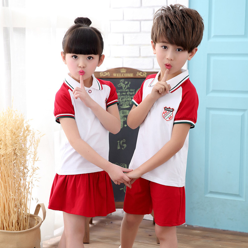 2019 Summer Kindergarten Suit Summer Wear Young STUDENT'S School Uniform BOY'S Girls Business Attire New Style Pure Cotton Sport