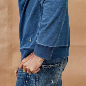 Image 4 - SIMWOOD 2020 otoño nueva indigo denim hoodie hombres lavado vintage manga larga pullover carta ropa informal con impresión sudadera SI980511