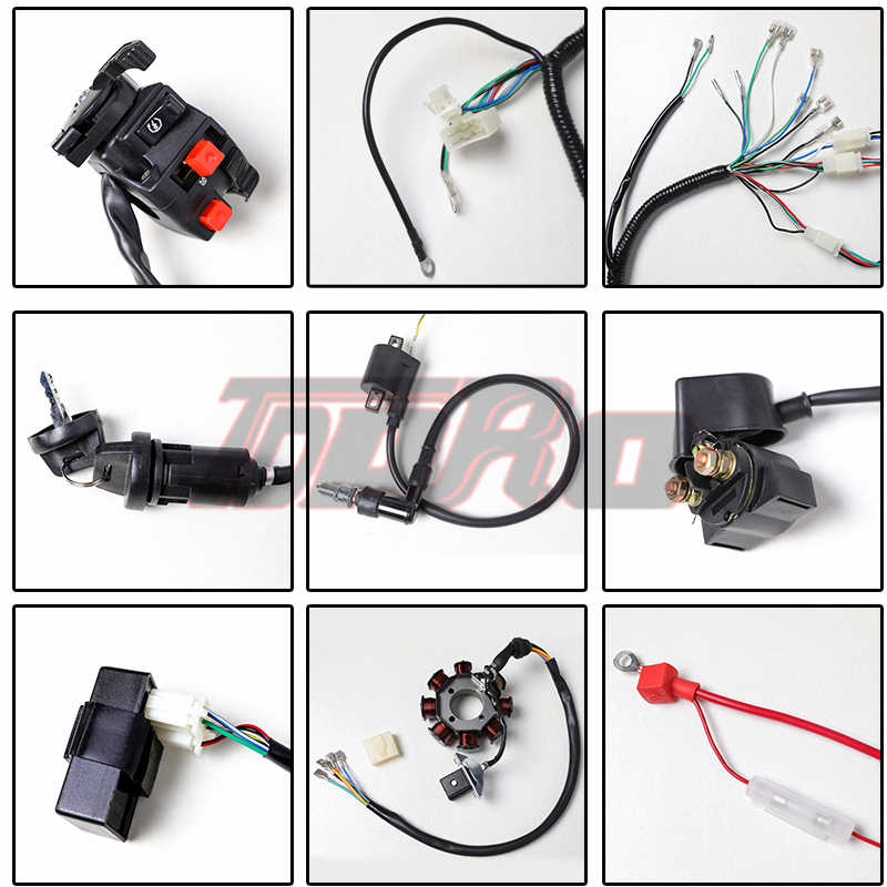 Tdpro Motor Penuh Lengkap Listrik Wiring Harness Tenun Kumparan Pengapian CDI Switch untuk Motor Skuter 125cc ~ 250cc Pitbike Pergi K