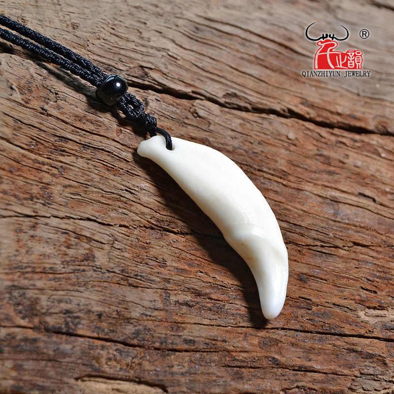 גברים של אמיתי שן תליון טיבטי קמע ניבים לבן זאב שן קסם טבעי עצם שרשרת אופנה פשוט פאנק אבזרים