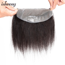 Isheeny 7*15 D Style Men Hairline Toupee V-Loop Brazilian Virgin Human Hair Replacement System Toupee PU Skin  For Men