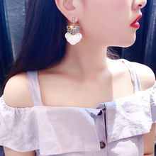 Trendy Acrylic Water Drop Women Dangle Earrings Crystal Flower Long Pendant For Drops