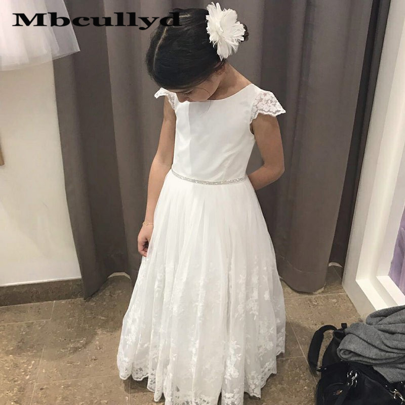 Mbcullyd A-line Flower Girl Dresses For Weddings 2020 Cap Sleeves Girls Birthday Communion Party Dress With Lace Cheap Under 100