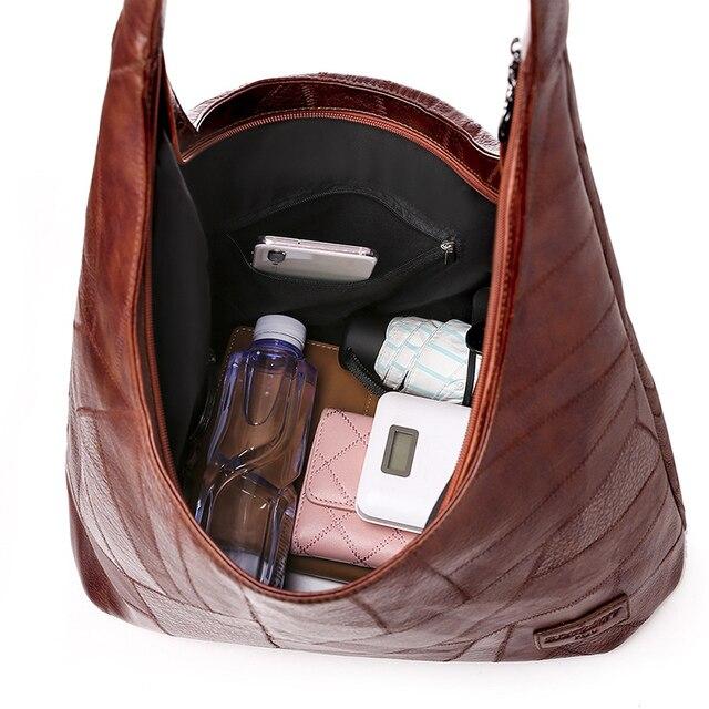 винтажные сумки хобо женские большие мягкие лоскутные кожаные фотография