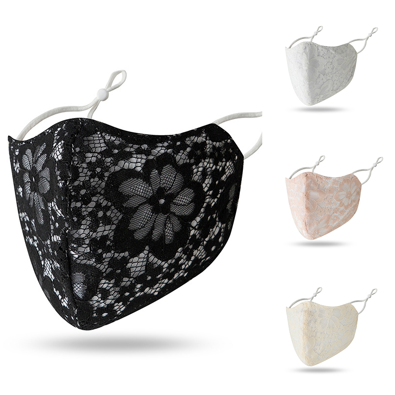 Black Lace Floral Print Masks Sun Protection Lace Riding Mouth Masks Summer Hanging Ears Face Mask Women Retro Face Mouth Covers