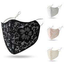 Masque noir en dentelle imprimé Floral pour femmes, Protection contre le soleil, masques buccaux, oreilles suspendues d'été, couvre-visage rétro