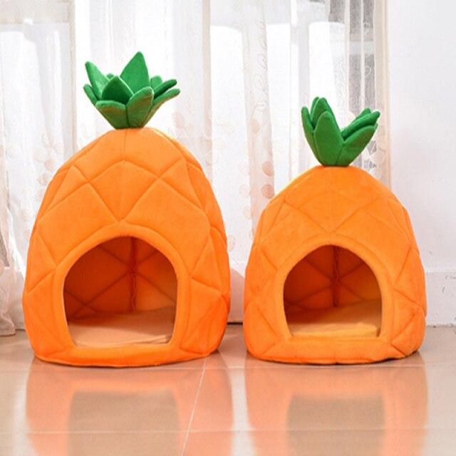 Niche créative en forme de chat   Nid de chat Teddy, chien Fruit banane fraise ananas pastèque coton, lit chaud, produits pour animaux, chien maison 5