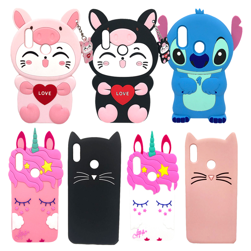 For Huawei Y7 2019 Case Soft Silicone For Huawei Y7 Prime 2019 3D Stitch Cat Cartoon Case Cover For Huawei Y 7 2019 Phone Bags