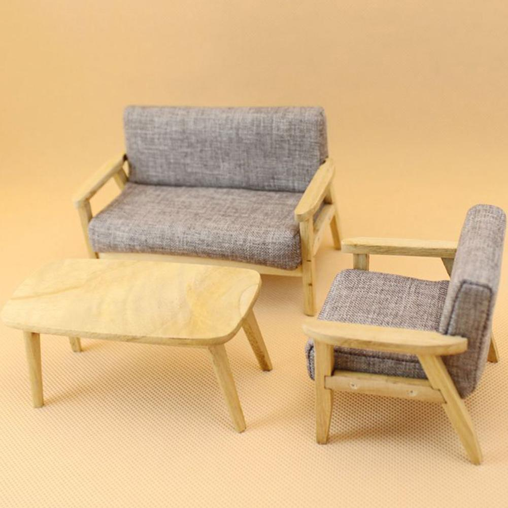 1/12 Dollhouse Miniature Wooden Sofa Teapoy Living Room Furniture Dollhouse Decor DIY  Accessories  Kids Gift