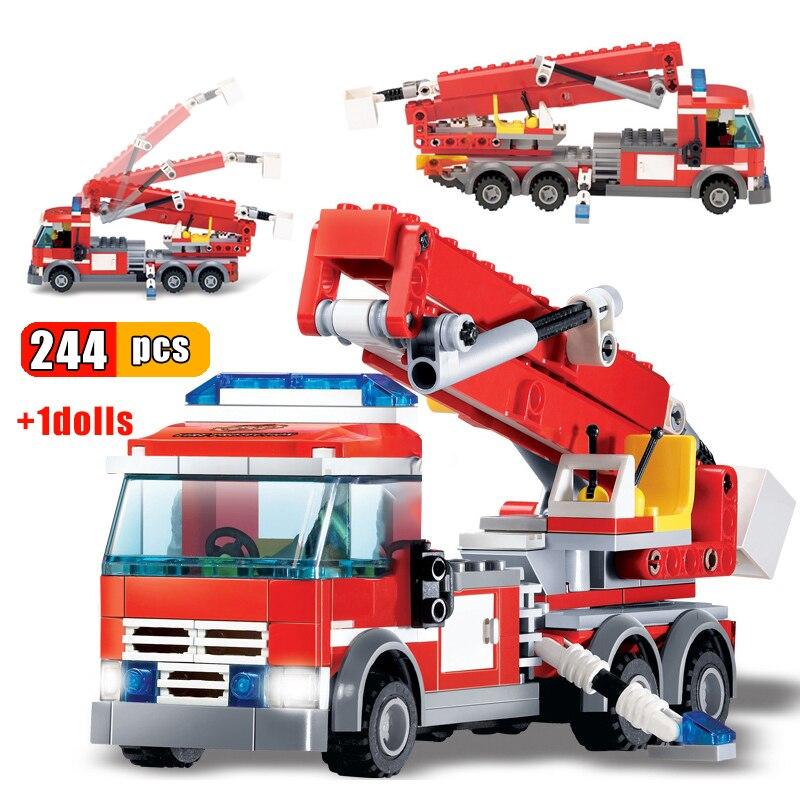 244 шт. пожарные машины автомобиль лестница грузовик Модель Строительный блок кирпичики город пожарные Фигурки Игрушка пожарная машина пода...