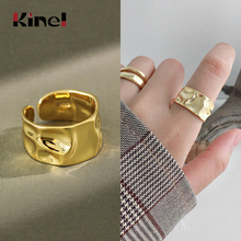 Kinel 925 Sterling Silver Irregular Wide 14K Gold Ring High Quality Fashionable Rings for Women Silver 925 Jewelry Gift недорого