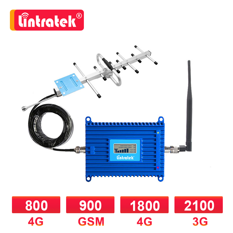 Lintratek 4G LTE 800mhz zespół 20 GSM 900 1800mhz wzmacniacz komórkowy 3G 2100 1800 4G wzmacniacz sygnału wzmacniacz zestaw antena Yagi 8