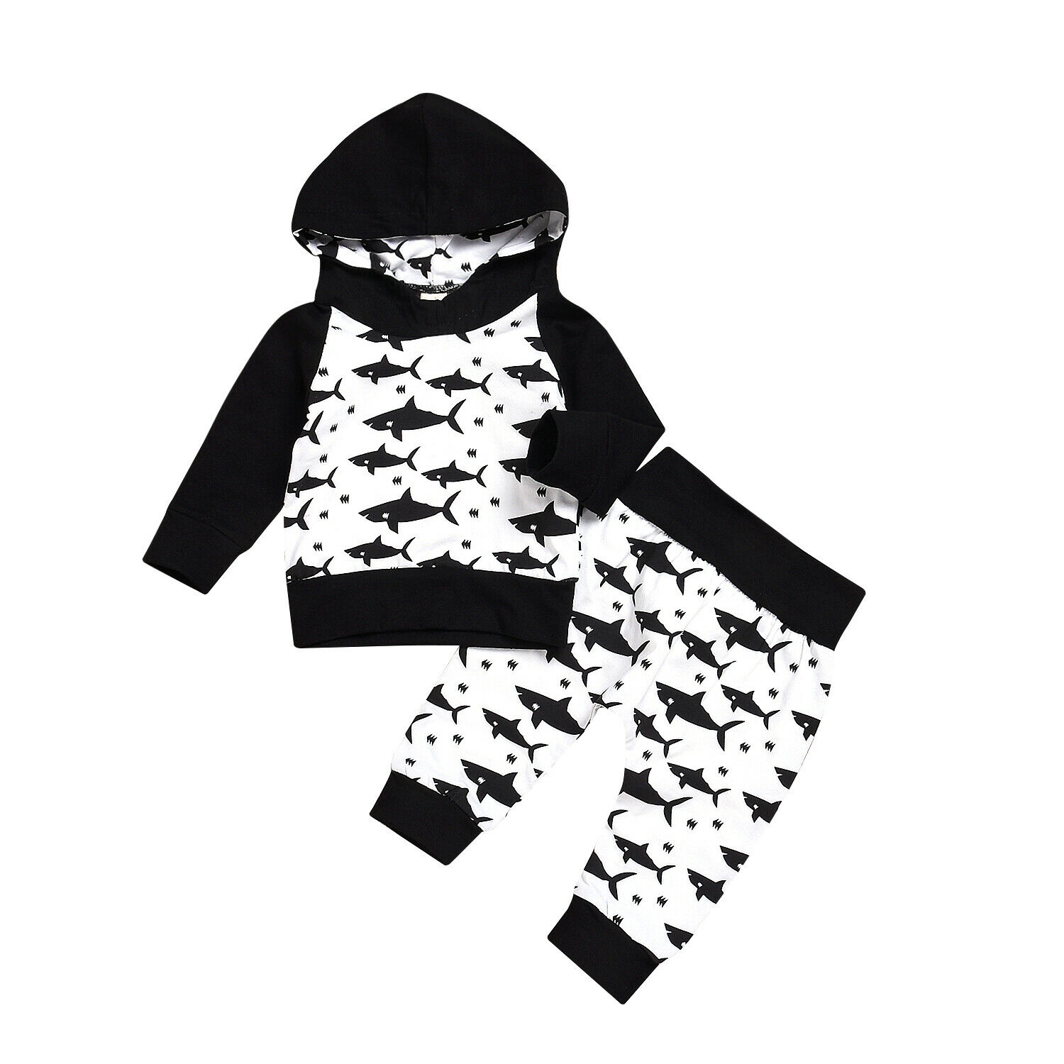 Tops Pants Fish-Outfits Long-Sleeves Toddler Baby-Boys 2pcs-Set Winter New Warm for Autumn