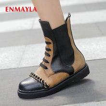 ENMAYLA 2019 Boots Women Fashion PU Lace-Up Mid-Calf Basic Short Plush Round Toe Warm Square Heel Winter Shoes Size 34-43