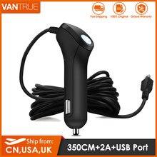Vantrue carro traço cam carregador 5v 2a 11.4ft cabo longo com mini usb ou tipo c porta adaptador para carro dvr telefone móvel